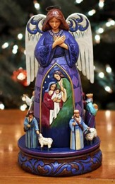 Christmas Angel with Rotating Nativity Scene