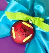 Best Teacher Ornament to Personalize, Gift Boxed
