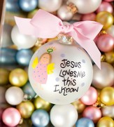 Jesus Loves Me, Girl, Ornament to Personalize, Gift Boxed