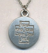 Jesus Cross on Disc Pendant