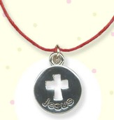 Open Cross on Disc, Jesus Necklace on Red Cord