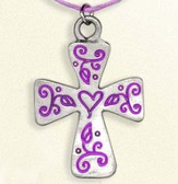 Floral Cross Necklace, on Purple Cord