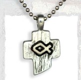 Stylized Cross with Ichthus Pendant, on Bead Chain