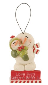 Love Lives Where Baby Is, Snowman Ornament