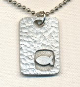 Square Disc Pendant, with Ichthus