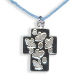 Cross with Dove Pendant, Blue Cord