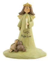 Faith, Hope, Love Angel, with Candle