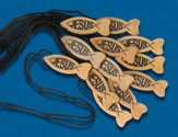 Jesus Fish Wood Necklace, Pack of 12