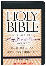 KJV Large Print Bible with Metcalf Bible Study Helps, Bonded Leather, Black, with Zippered Case & Index