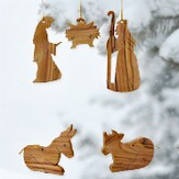 Olivewood Nativity Ornaments, Set of 5 Pieces