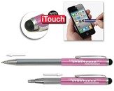 Telescopic Pen with Stylus, Pink