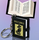 Smallest Bible Keychain, Black and Gold