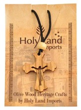 Olive Wood Risen Cross Pendant on Cord