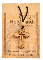 Olive Wood Eastern Cross Pendant on Cord