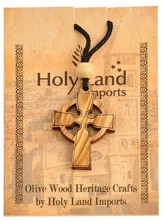 Olive Wood Celtic Cross Pendant on Cord