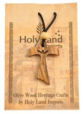 Olive Wood Holy Cross Pendant on Cord