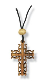 Olive Wood Filigree Cross Pendant on Cord