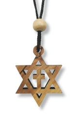 Olive Wood Star of David Cross Pendant on Cord
