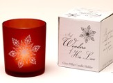 Wonders of His Love Frosted Pillar Candle Holder