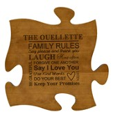 Personalized, Puzzle Piece, Family Rules, Cherry