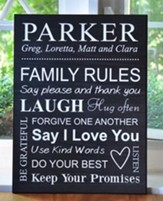 Personalized, Lithograph Plaque, Family Rules, Black