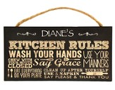 Personalized, Hanging Sign, Kitchen Rules, Black