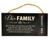 Personalized, Hanging Sign, Our Family, Black