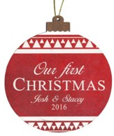 Personalized, Ornament, Round, Our First Christmas, Red