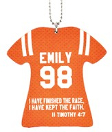 Personalized, Jersey Keychain, Keep The Faith, Girl, Orange
