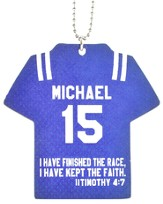 Personalized, Jersey Keychain, Keep The Faith, Boy, Blue