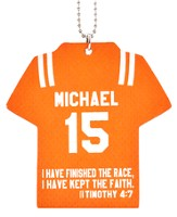 Personalized, Jersey Keychain, Keep The Faith, Boy, Orange