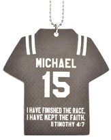 Personalized, Jersey Keychain, Keep The Faith, Boy, Grey