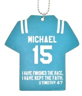 Personalized, Jersey Keychain, Keep The Faith, Boy,   Teal