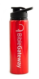 Bible Gateway Water Bottle, Flip Top, Red