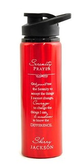 Personalized, Water Bottle, Flip Top, Serenity Prayer,  Red