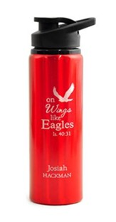 Personalized, Water Bottle, Flip Top, Eagle, Red