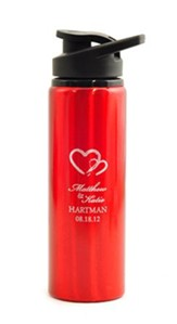 Personalized, Water Bottle, Flip Top, Two Hearts, Red