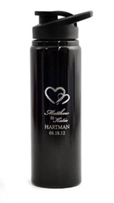 Personalized, Water Bottle, Flip Top, Two Hearts, Black