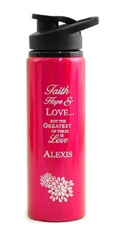 Personalized, Water Bottle, Flip Top, Love, Pink