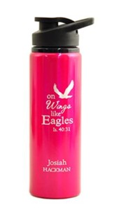Personalized, Water Bottle, Flip Top, Eagle, Pink