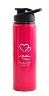 Personalized, Water Bottle, Flip Top, Two Hearts, Pink