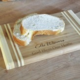 Personalized, Bamboo Cutting Board, Two Toned, God   Bless Our Home