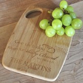Personalized, Bamboo Cutting Board, Matthew 6:11, Small
