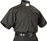 Men's Short Sleeve Black Clergy Shirt with Tab Collar: Size 18