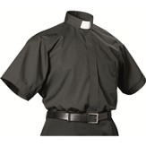 Men's Short Sleeve Black Clergy Shirt with Tab Collar: Size 18 1/2