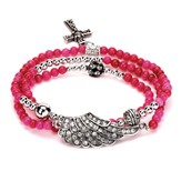 Wrap Cross Bracelet, Raspberry