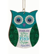 Owl/Under His Wings Car Charm - (Approx. 2.75 X 4 W/ 7.5 Chain)