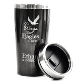 Personalized, Travel Mug, On Wings Like Eagles, Black
