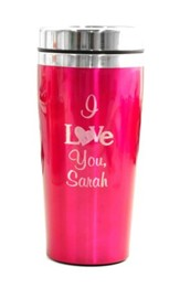 Personalized, Travel Mug, I Love You, Pink