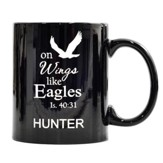 Personalized, Ceramic Mug, On Wings Like Eagles, Black